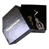 Butler & Wilson Boxed Sterling Silver & Crystal Pendant Earrings