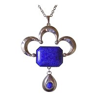 Vintage 1970's Imitation Lapis Pendant Necklace