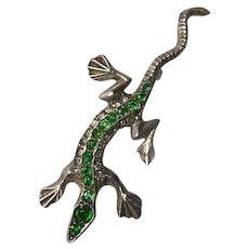 Art Deco Emerald Rhinestone Gecko Lizard Brooch
