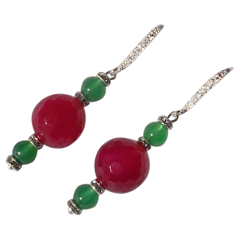 Art Deco Inspired Imitation Ruby & Green Onyx Pendant Earrings