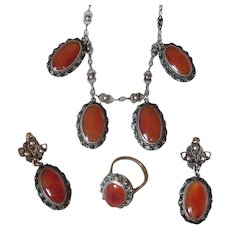 Chinese Filigree Silver Carnelian and Enamel Parure