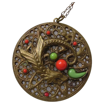 Czech Neiger Style Dragon Pendant Necklace