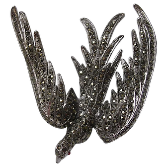 Large Silver Marcasite Sweeping Bird Brooch