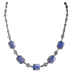 Art Deco Blue Lined Glass Bead Necklace