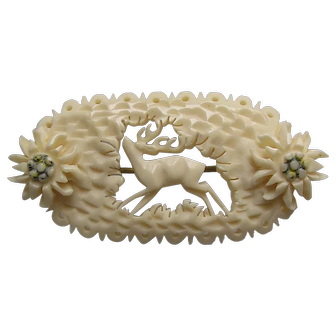 Carved Vintage Alpine Bone Brooch