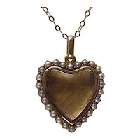 Antique Victorian 15 Kt Gold Glazed Heart Locket with Seed Pearls