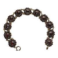 Vintage Czech Rose Cut Garnet Bracelet