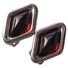 Vintage Sterling Silver & Amber Clip Earrings
