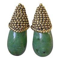 Large 1960's Imitation Jade Clip Earrings
