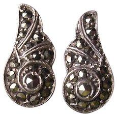 Vintage 1950's Sterling Silver Marcasite Clip Earrings