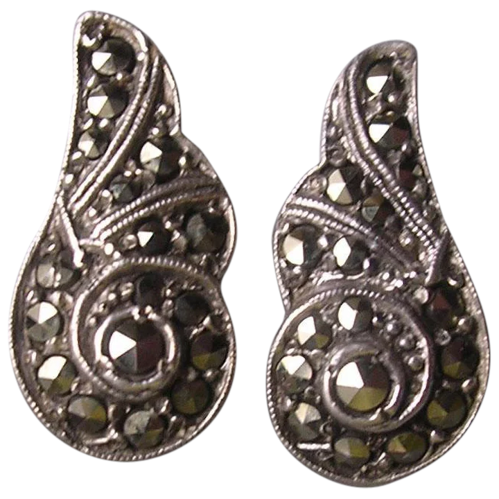 bbeb16a7f Vintage 1950's Sterling Silver Marcasite Clip Earrings : Bygone ...