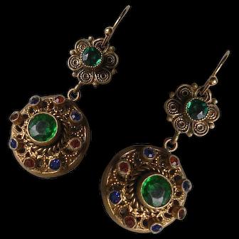 Vintage Czech Rhinestone Set Pendant Earrings
