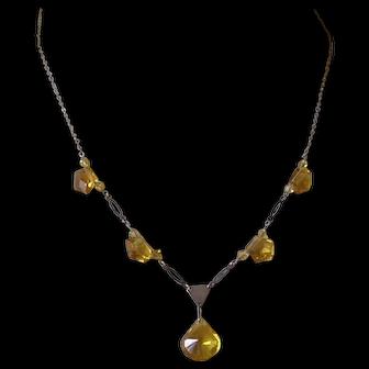 German Art Deco Citrine Glass & Chrome Pendant Necklace