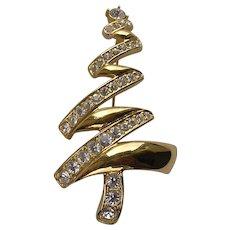 Vintage Monet Gold Tone Rhinestone Christmas Tree Brooch