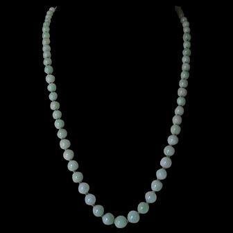 Vintage 9kt Jade Jadeite Graduated Bead Necklace