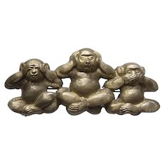 Large Upcycled 3 Wise Monkeys Brooch