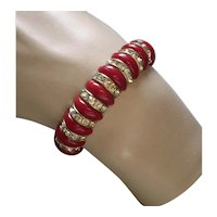 Art Deco Glass Bead & Rhinestone Rondelle Bracelet