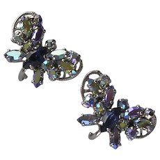 Lovely Vintage Signed Jewelcraft Butterfly Clip Earrings