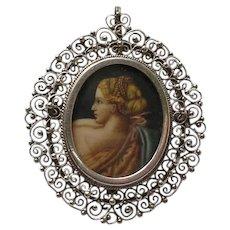 Vintage Italian 800 Silver Hand Painted Miniature Portrait Pendant Brooch