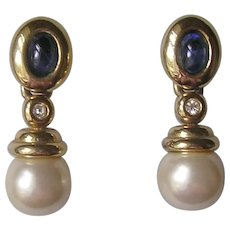 Vintage Sapphire Glass and Imitation Pearl Pendant Earrings