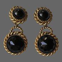 Signed Vintage Butler & Wilson Black Rhinestone Clip Pendant Earrings