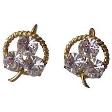 Delicate Vintage Gilt Rhinestone 3 Leaf Clover Earrings