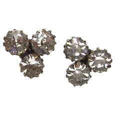 Antique Silver Gilt Paste Earrings