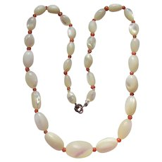 Antique Victorian Graduated Mother of Pearl & Coral Bead Necklace