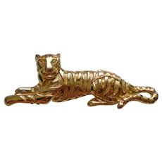Vintage Gold Tone Tiger Brooch