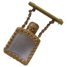 Vintage Miniature Glass Perfume Bottle Bar Brooch
