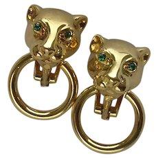 Vintage Italian Silver Vermeil Large Cat Clip Earrings