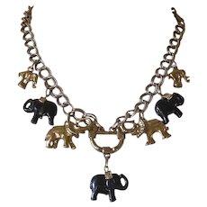 Unusual Vintage Elephant Charm Pendant & Bracelet Demi Parure