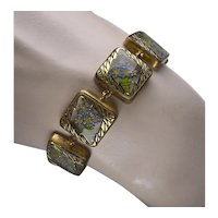 Vintage 1930's Reverse Carved Glass Panel Bracelet