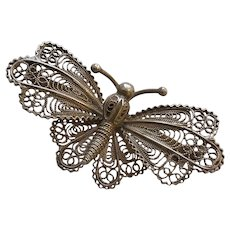 Vintage 800 Italian Silver Filigree Butterfly Brooch