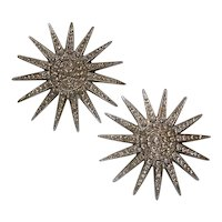 Large Signed Butler & Wilson Rhinestone Snowflake Clip Earrings