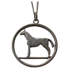 Upcycled Irish 750 Silver Coin Horse Pendant Necklace