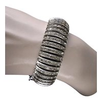 Flexible Art Deco Channel Set Rhinestone Bangle with Safety Chain