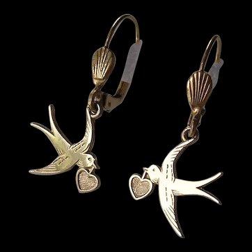 Vintage West German Love Bird & Heart Earrings