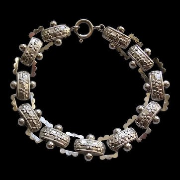 Victorian Sterling Silver Book Chain Bracelet