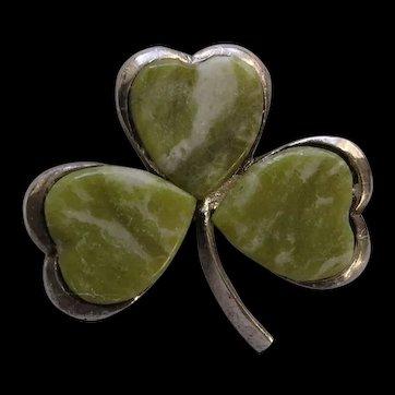 Hallmarked Irish Sterling Silver Connemara Marble Shamrock Brooch c1967