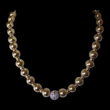 Italian Gold Vermeil Sterling Silver Bead & Rhinestone Necklace