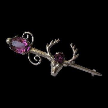 Scottish Style Sterling Amethyst Rhinestone Set Sword & Stag Head Brooch
