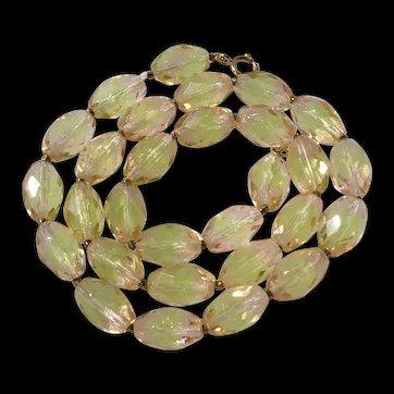 Vintage Faceted Bi Color Vaseline Uranium Glass Bead Necklace