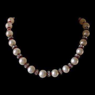 Art Deco Inspired Glass Imitation Pearl & Rhinestone Rondelle Necklace