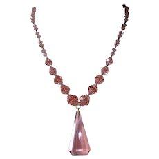 Art Deco Gold Filled Pink Crystal Pendant Necklace