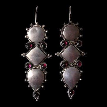 Vintage Sterling Silver & Garnet Pendant Drop Earrings