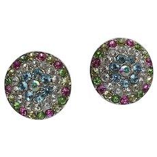 Vintage Nicky Butler Multi Color Crystal Clip Earrings