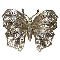 Filigree Silver Gilt Marcasite Set Butterfly Brooch