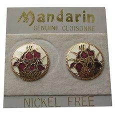 Mandarin Cloisonne Enamel Clip Earrings