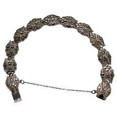 Art Deco Marcasite Set Bracelet with Safety Chain